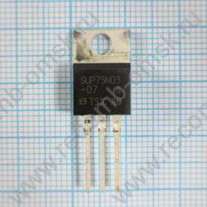 Vishay SUP75N03-07 N-channel MOSFET Transistor, 75 A, 30 V, 3-pin TO-220AB