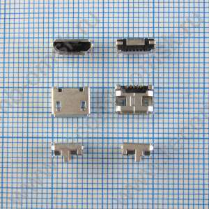 Разъем Micro USB 2.0 - B type - Horizontal - 5 pins - Bottom mount - Surface mount - 2.35mm profile - USB3075